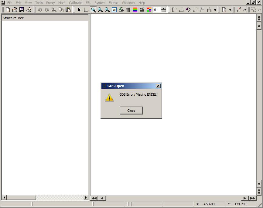 GDS Error: Missing ENDEL!
