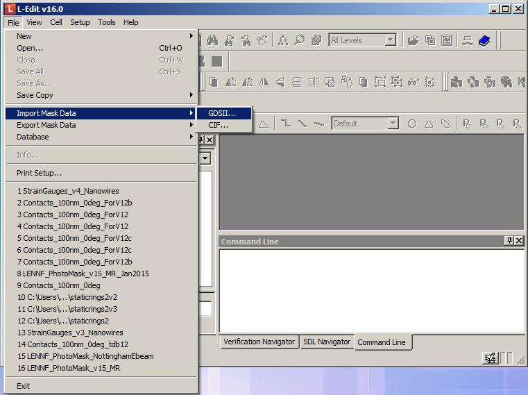 L-edit GDS import  - Import mask data