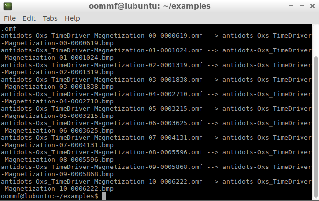 Images From OOMMF Outputs - output log