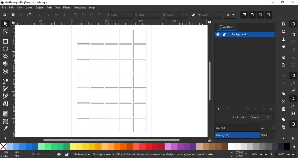 Inkscape grid loaded