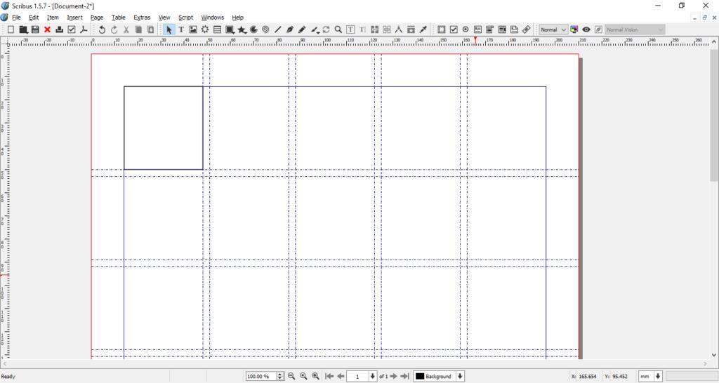 Scribus grid - single square