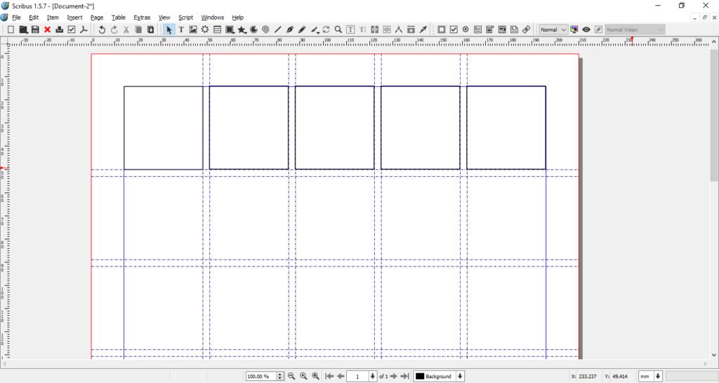 Scribus grid row