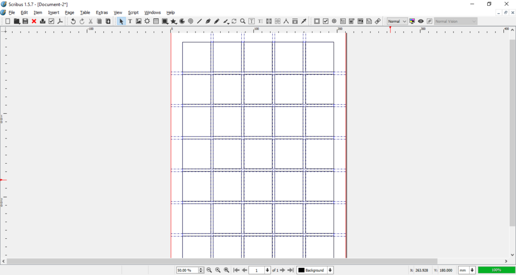 Scribus grid whole page