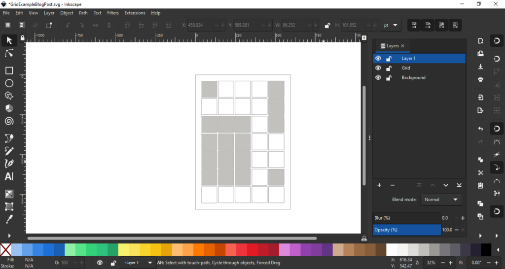 Inkscape example layout with grid lines